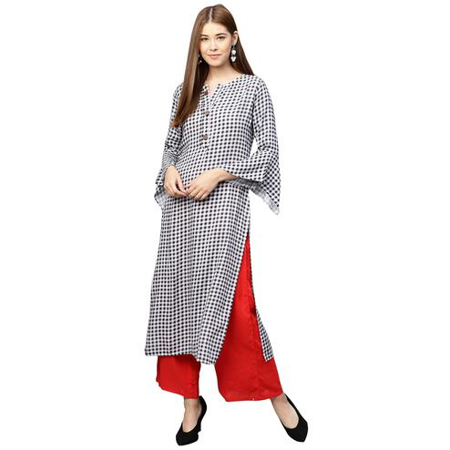 Attractive Black-White Colored Partywear Printed Cotton Long Kurti
