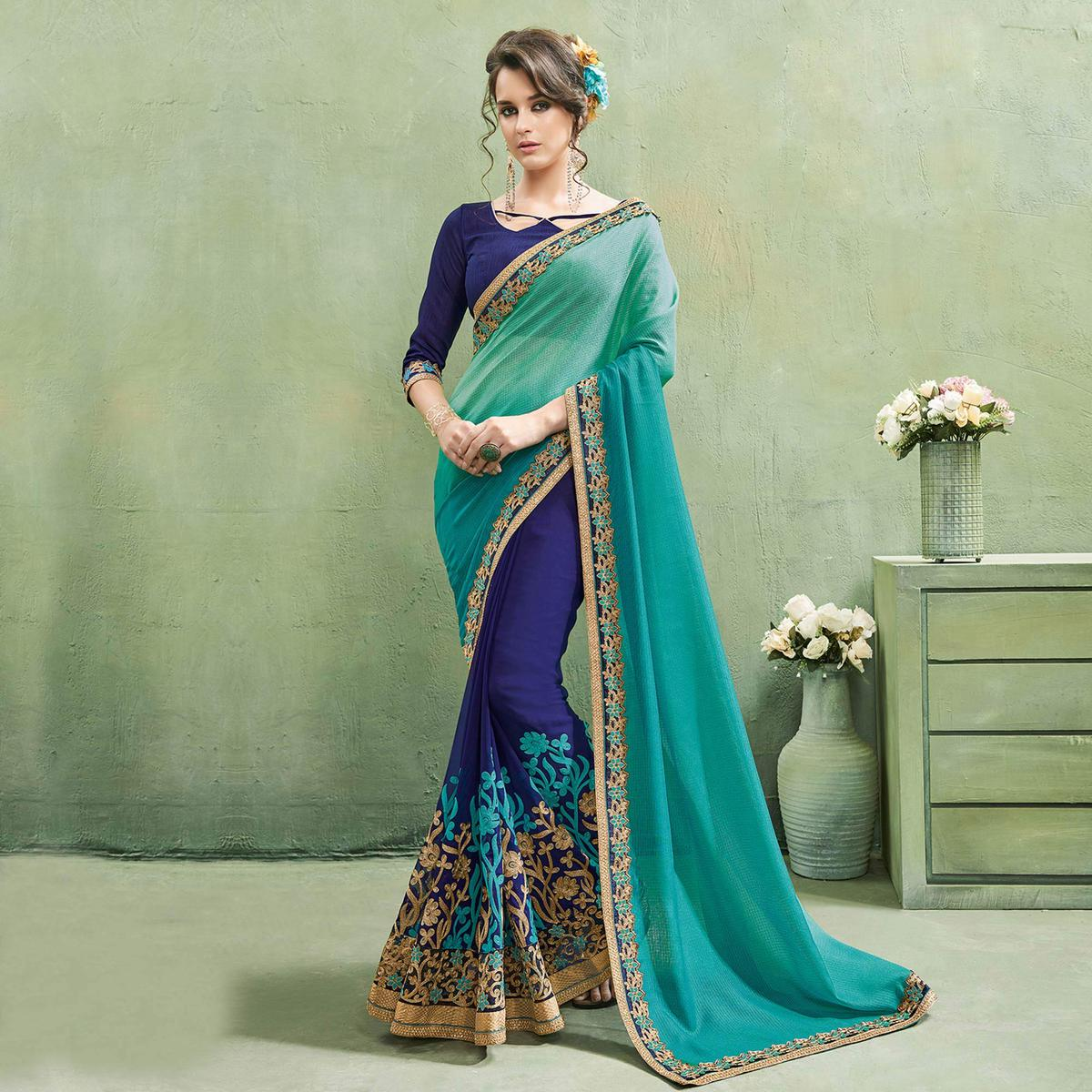 Alluring Blue - Turquoise Colored Party Wear Embroidered Georgette Saree