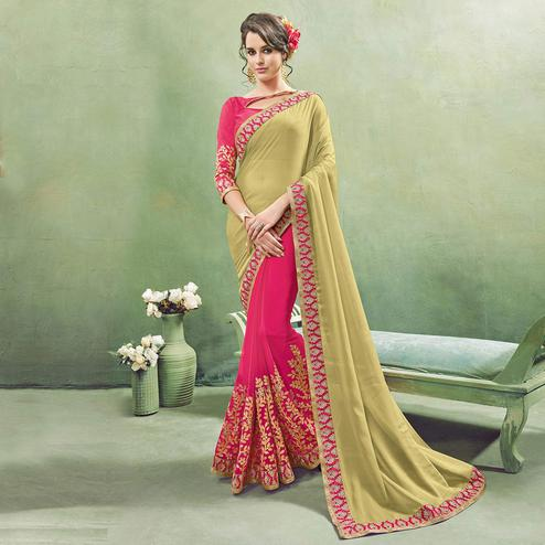 Hypnotic Pink - Light Olive Green Colored Party Wear Embroidered Georgette Saree