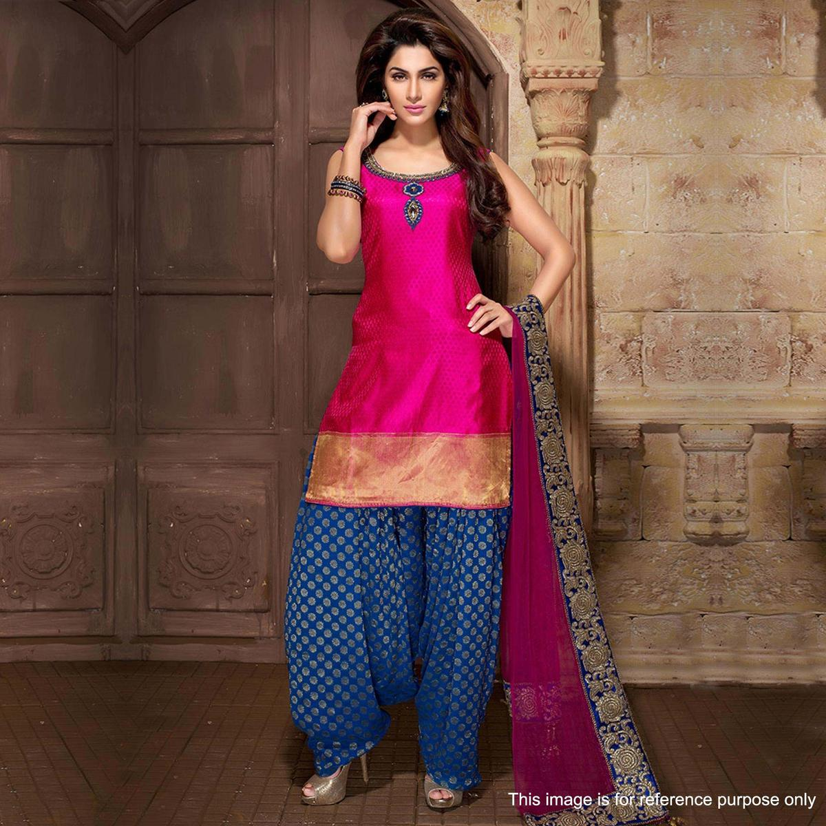 Elegant Pink Colored Party Wear Embroidered Cotton Silk Patiala Suit
