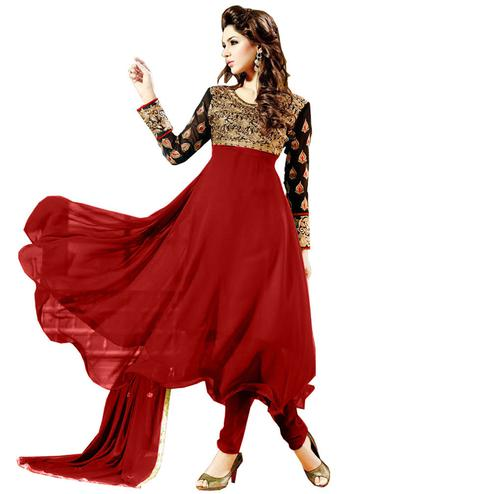 Classy Maroon - Black Colored Party Wear Embroidered Georgette Anarkali Suit