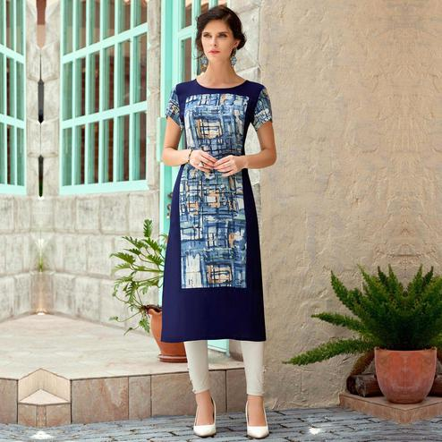 Appealing Blue Colored Casual Wear Printed Rayon Cotton Kurti