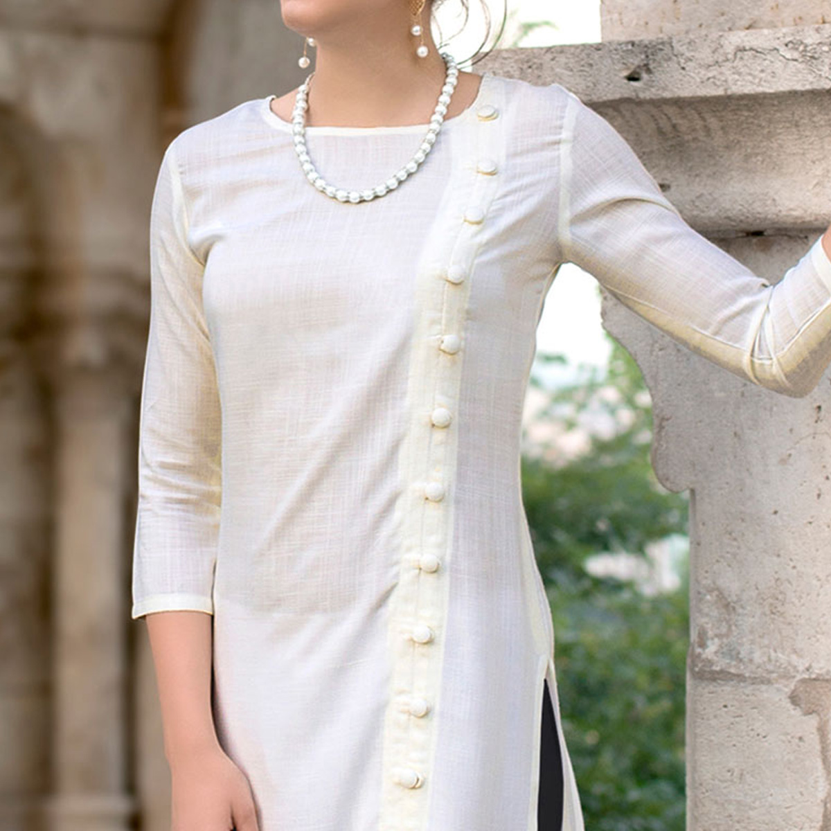 Refreshing Off White Colored Casual Wear Linen Cotton Kurti