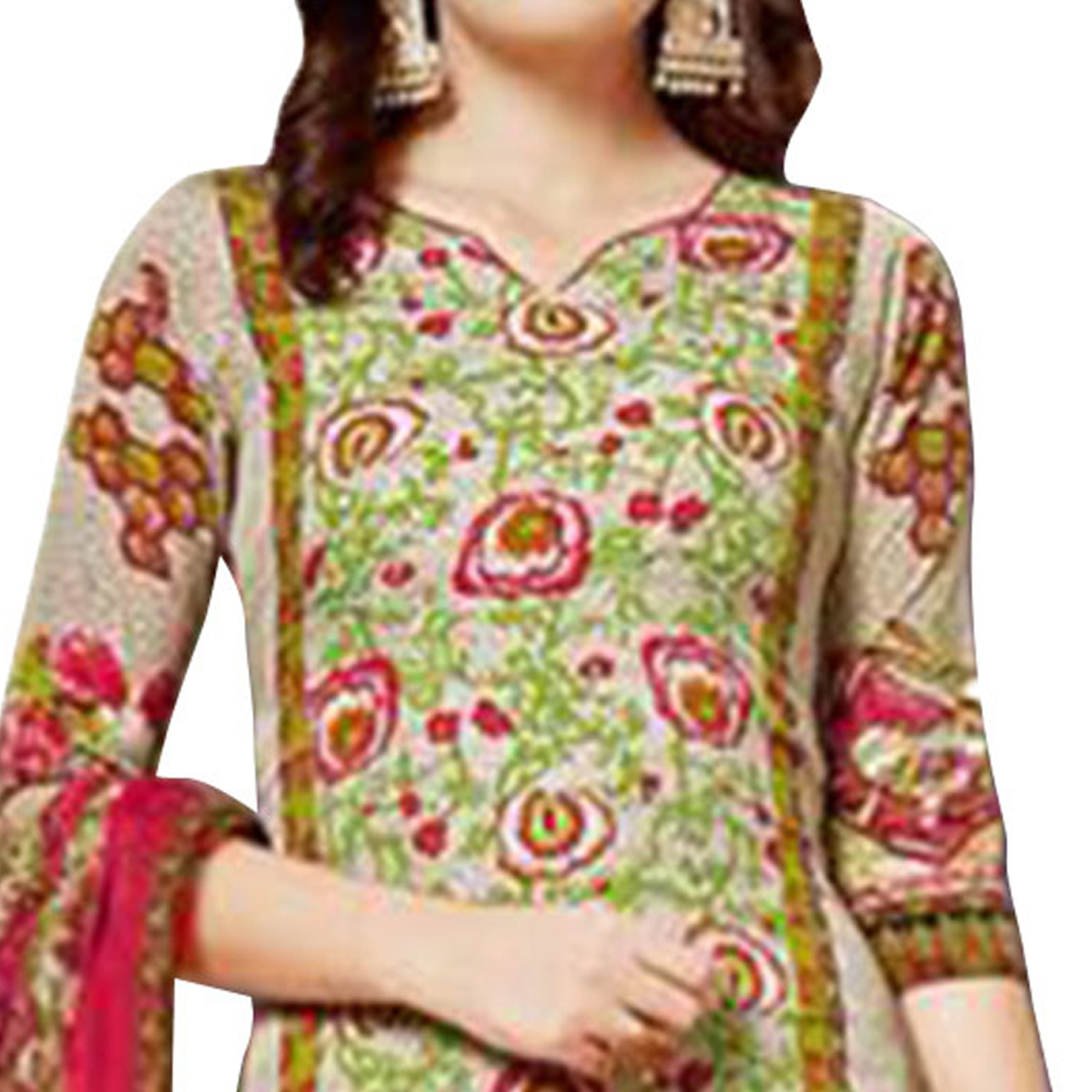 Flattering Green - Beige Colored Casual Wear Printed Unstitched Salwar Suit Combo