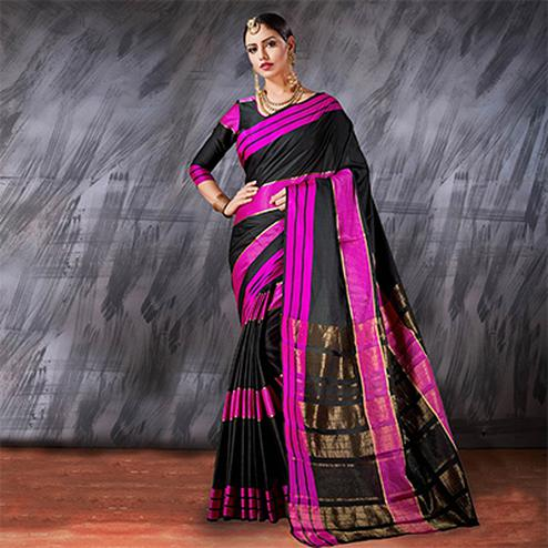 Mesmerising Black Designer Cotton Silk Jacquard Saree