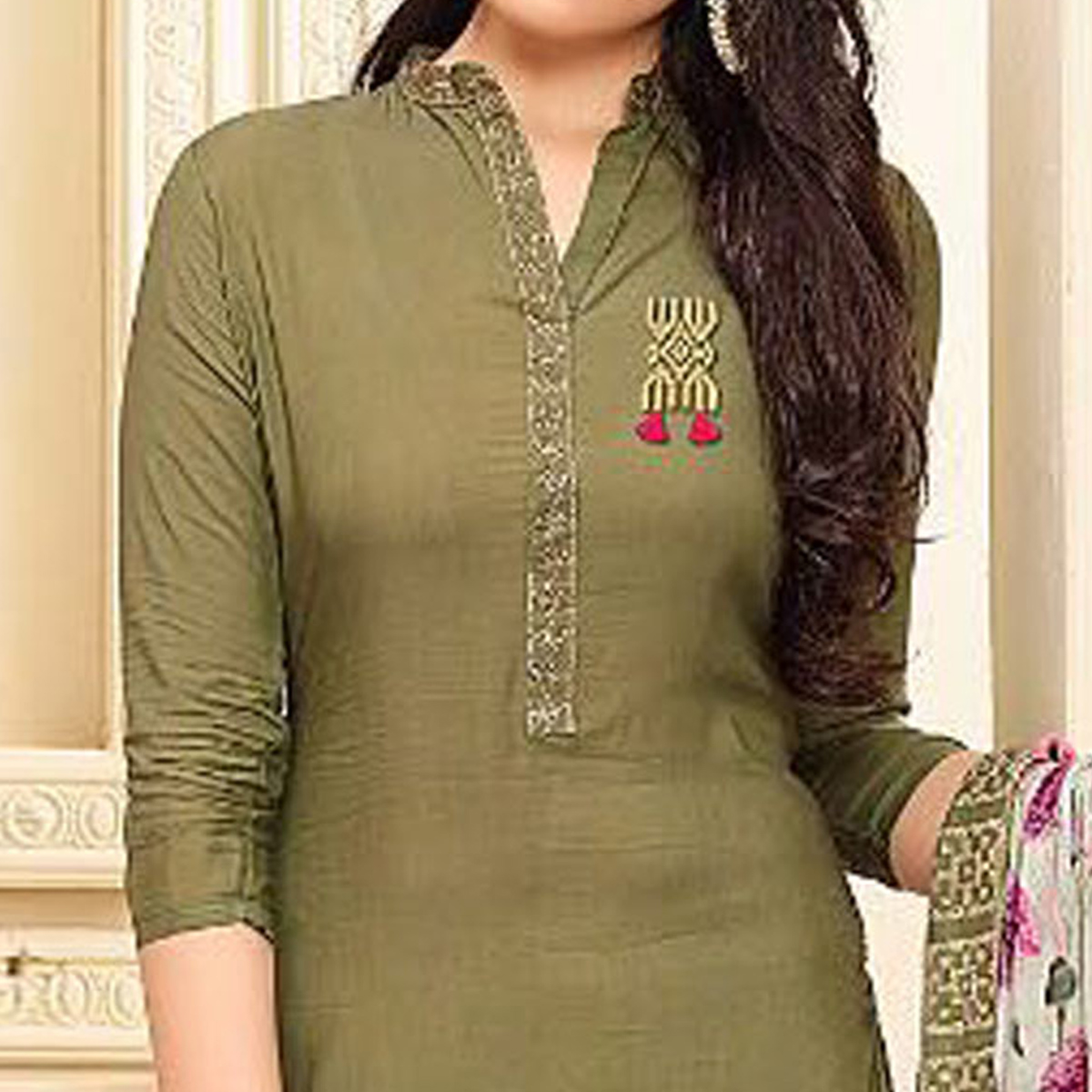 Exotic Mehndi Green Colored Casual Wear Embroidered Cotton Salwar Suit