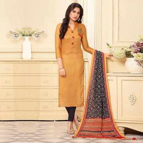 Starring Mustard Yellow Colored Casual Wear Embroidered Cotton Salwar Suit