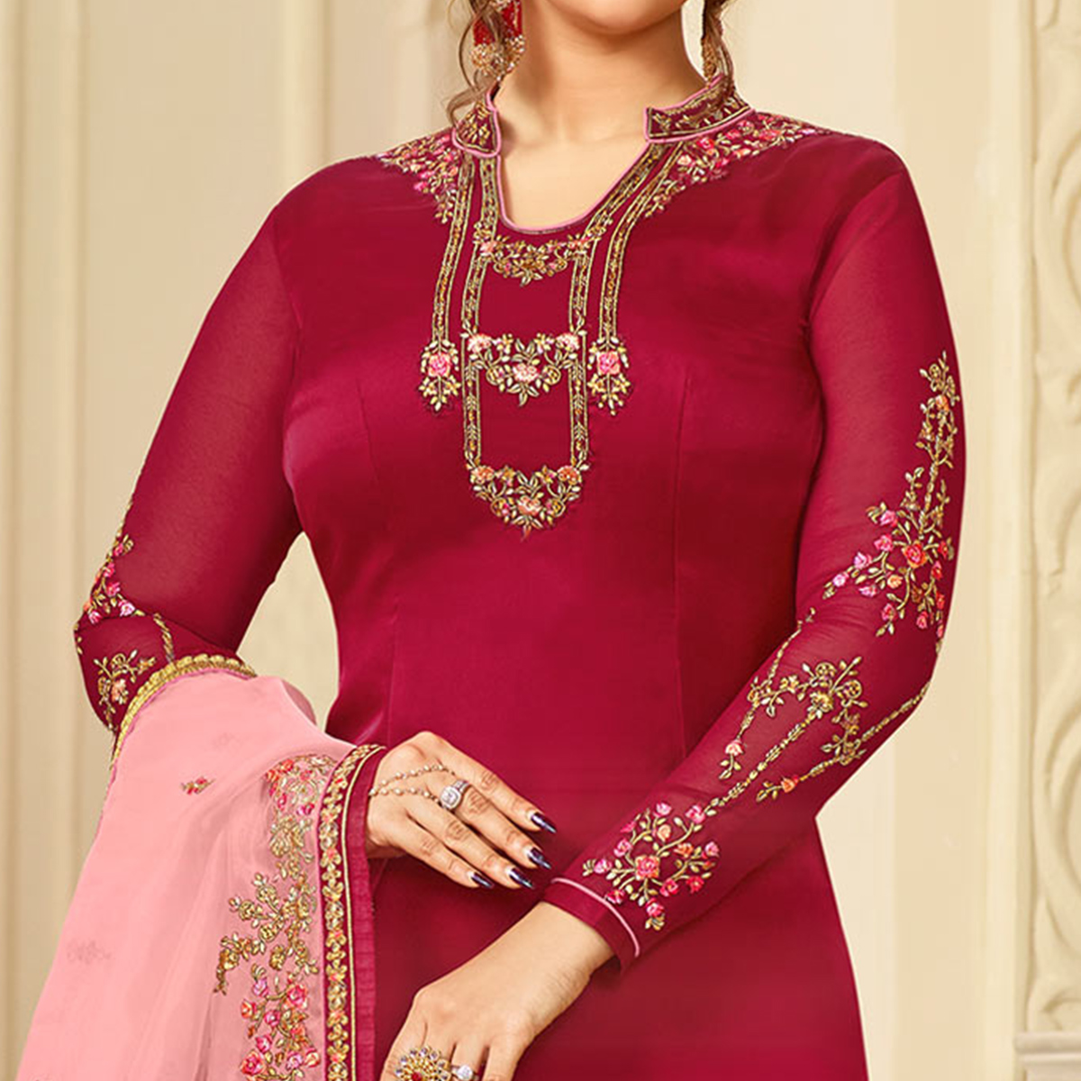 Marvellous Red Colored Partywear Embroidered Georgette Satin Suit