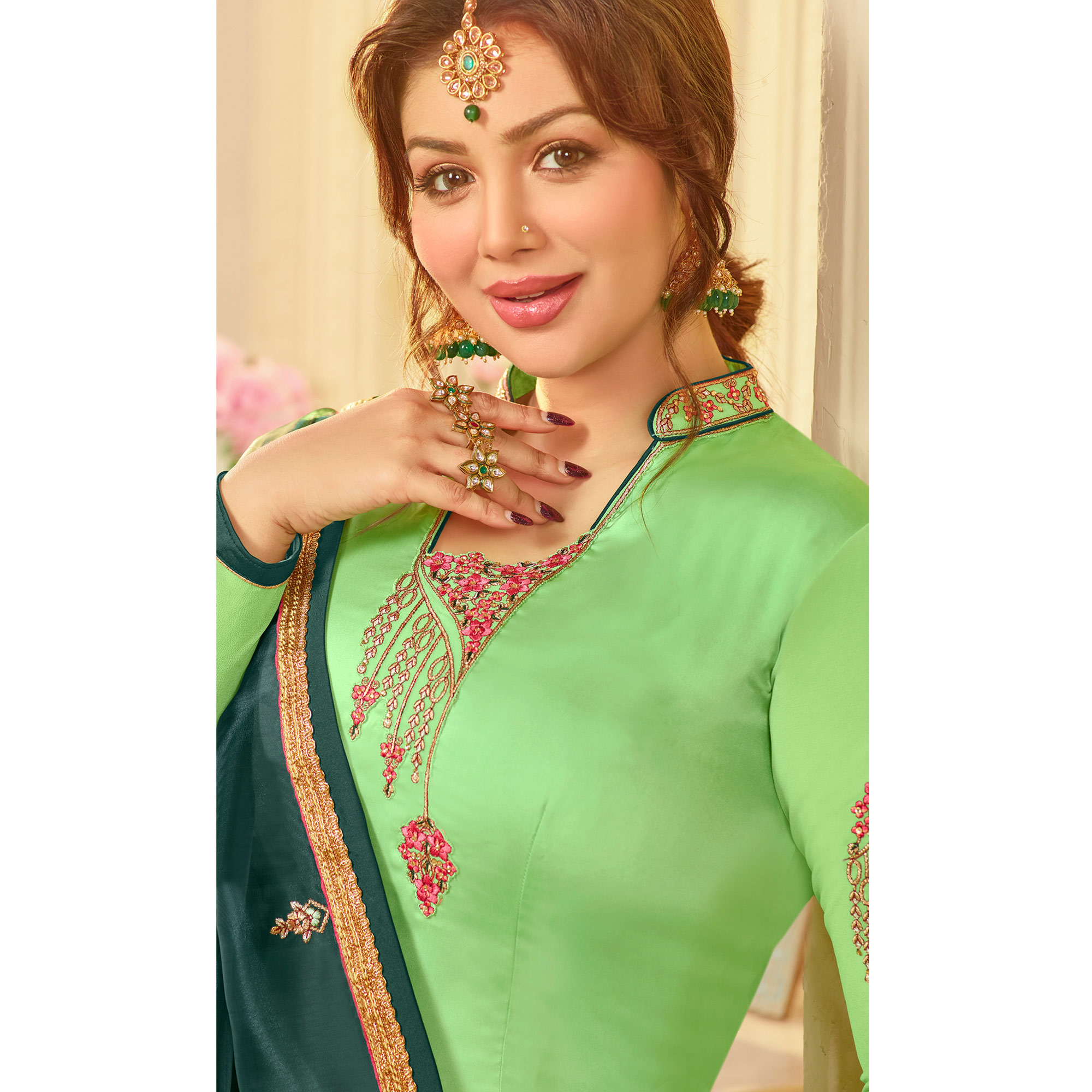 Refreshing Green Colored Partywear Embroidered Georgette Satin Suit