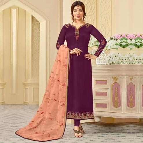 Gorgeous Purple Colored Partywear Embroidered Georgette Satin Suit