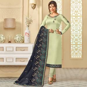 Blooming Grey Colored Partywear Embroidered Georgette Satin Suit