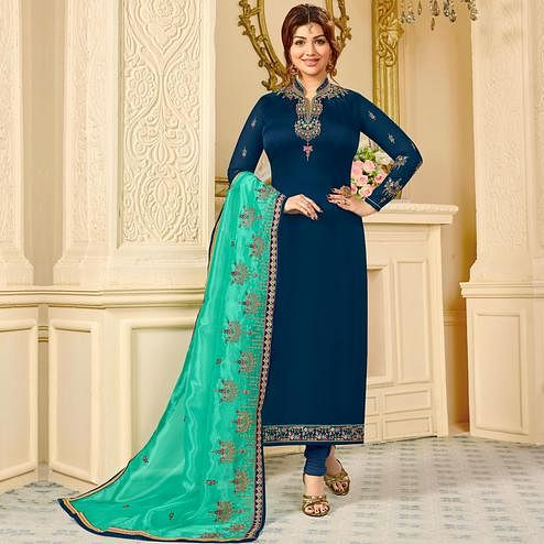 Trendy Navy Blue Colored Partywear Embroidered Georgette Satin Suit