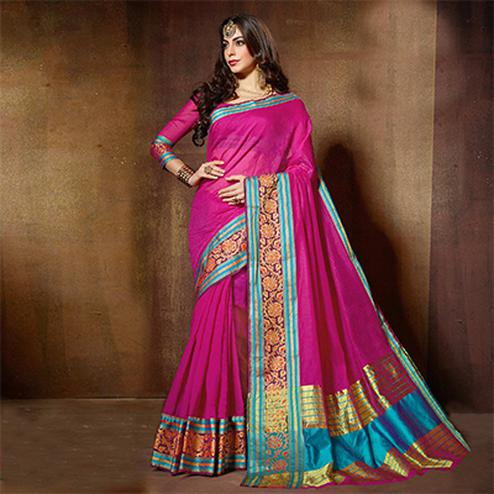 Adorable Pink Designer Cotton Silk Jacquard Saree