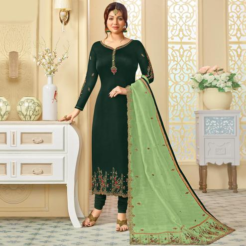 Stunning Dark Green Colored Partywear Embroidered Georgette Satin Suit