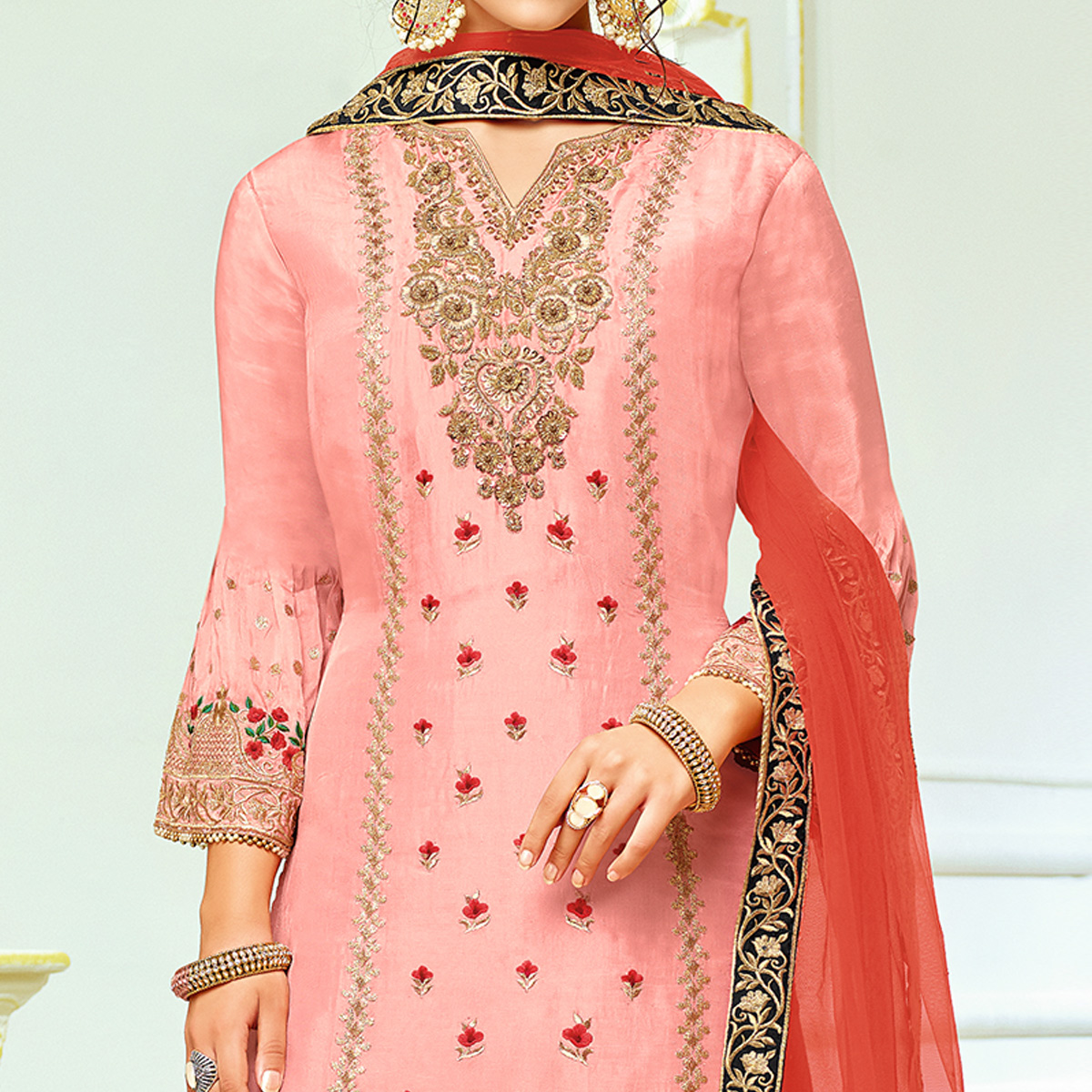 Flamboyant Light Pink Colored Partywear Embroidered Uppada Silk Palazzo Suit