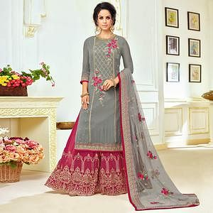 Demanding Gray Colored Partywear Embroidered Uppada Silk Palazzo Suit