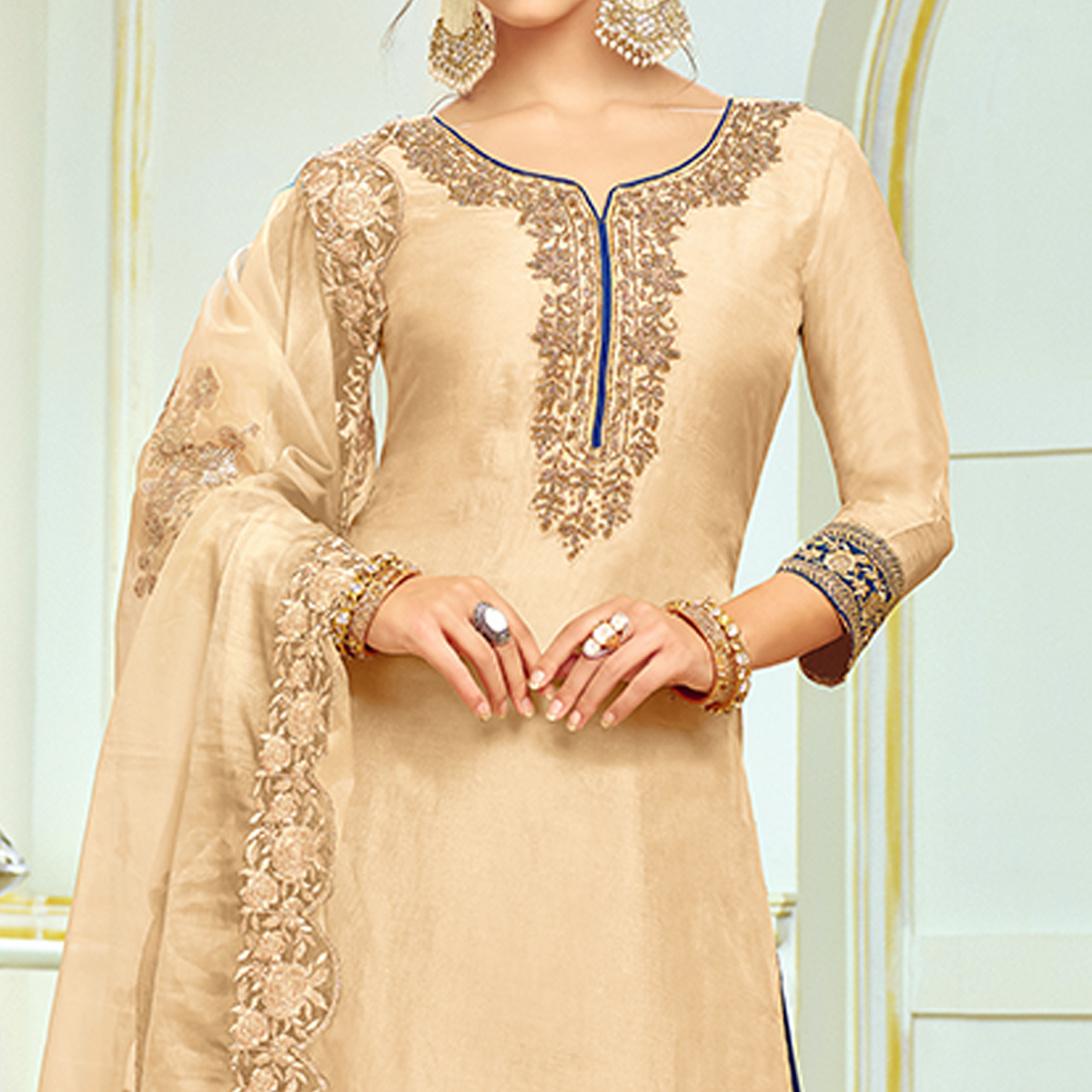 Marvellous Cream Colored Partywear Embroidered Uppada Silk Palazzo Suit