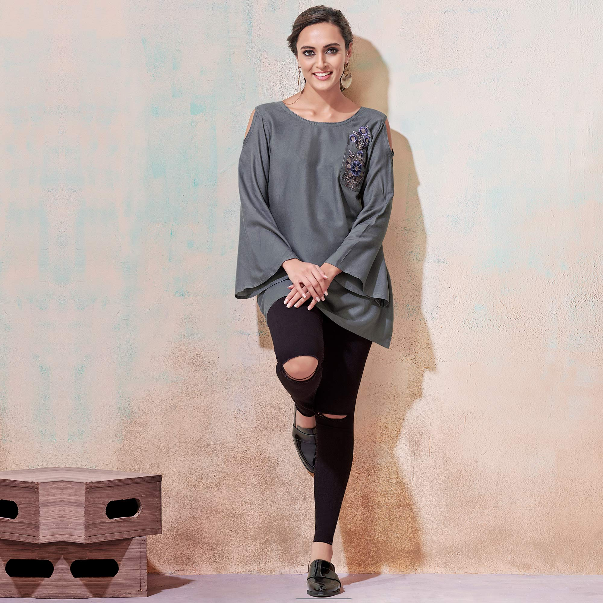 Attractive Gray Colored Partywear Embroidered Rayon Western Top