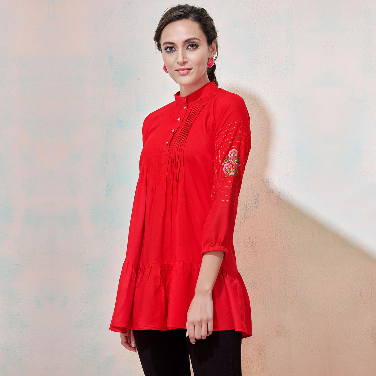 Eye-Catching Red Colored Partywear Embroidered Rayon Western Top