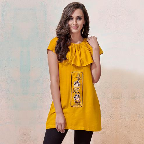 Starring Yellow Colored Partywear Embroidered Rayon Western Top