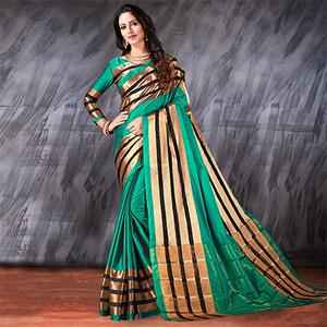 Beautiful Teal Designer Cotton Silk Jacquard Saree