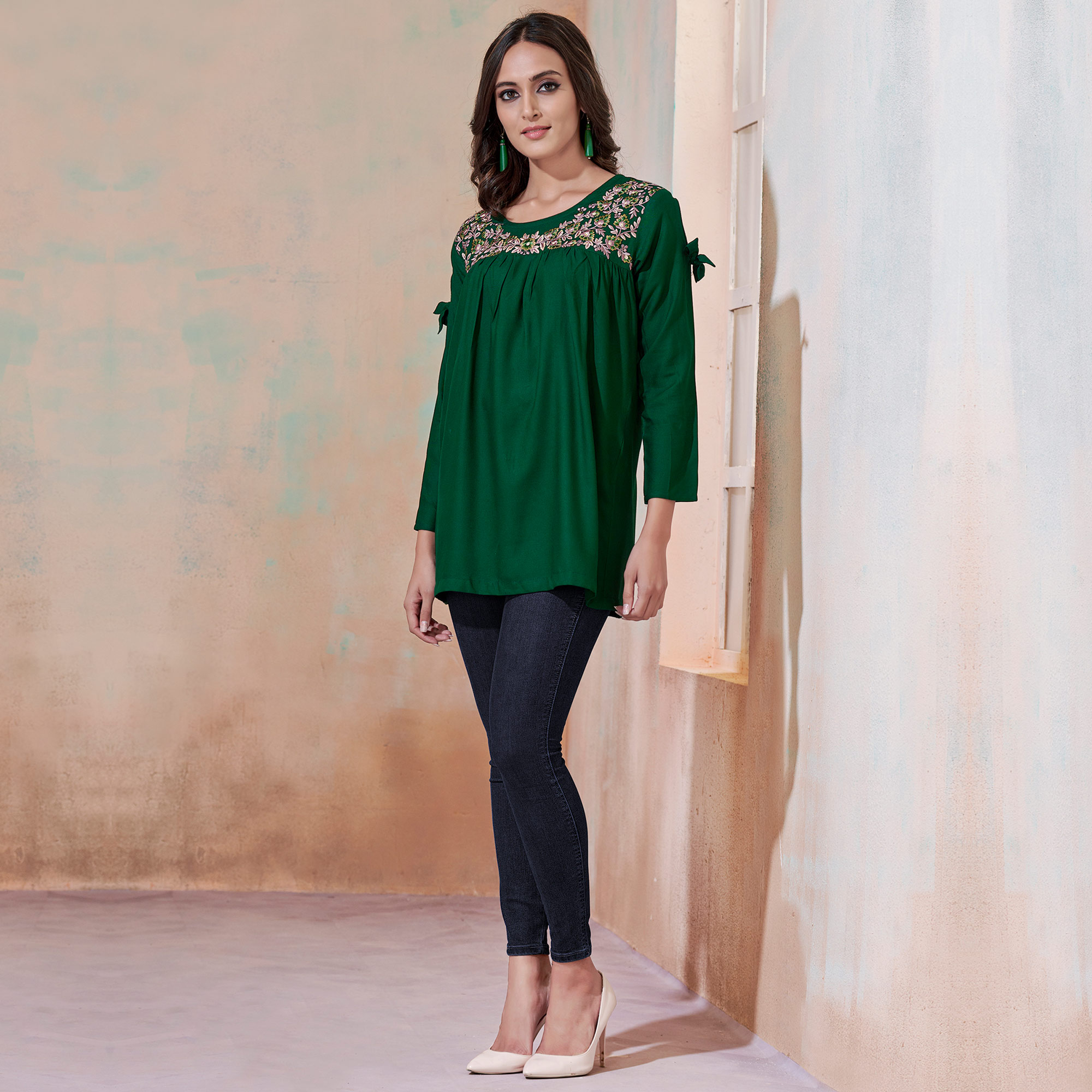 Flattering Green Colored Partywear Embroidered Rayon Western Top