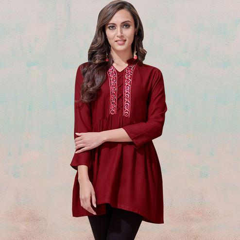 Classy Maroon Colored Partywear Embroidered Rayon Western Top