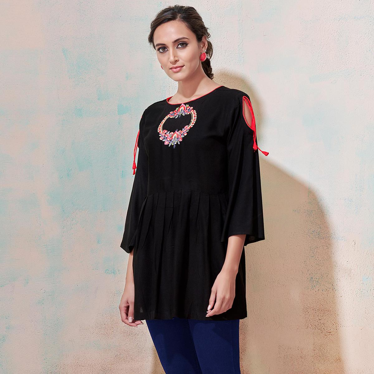 Demanding Black Colored Partywear Embroidered Rayon Western Top