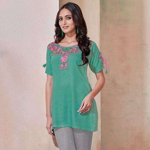Refreshing Turquoise Green Colored Partywear Embroidered Rayon Western Top