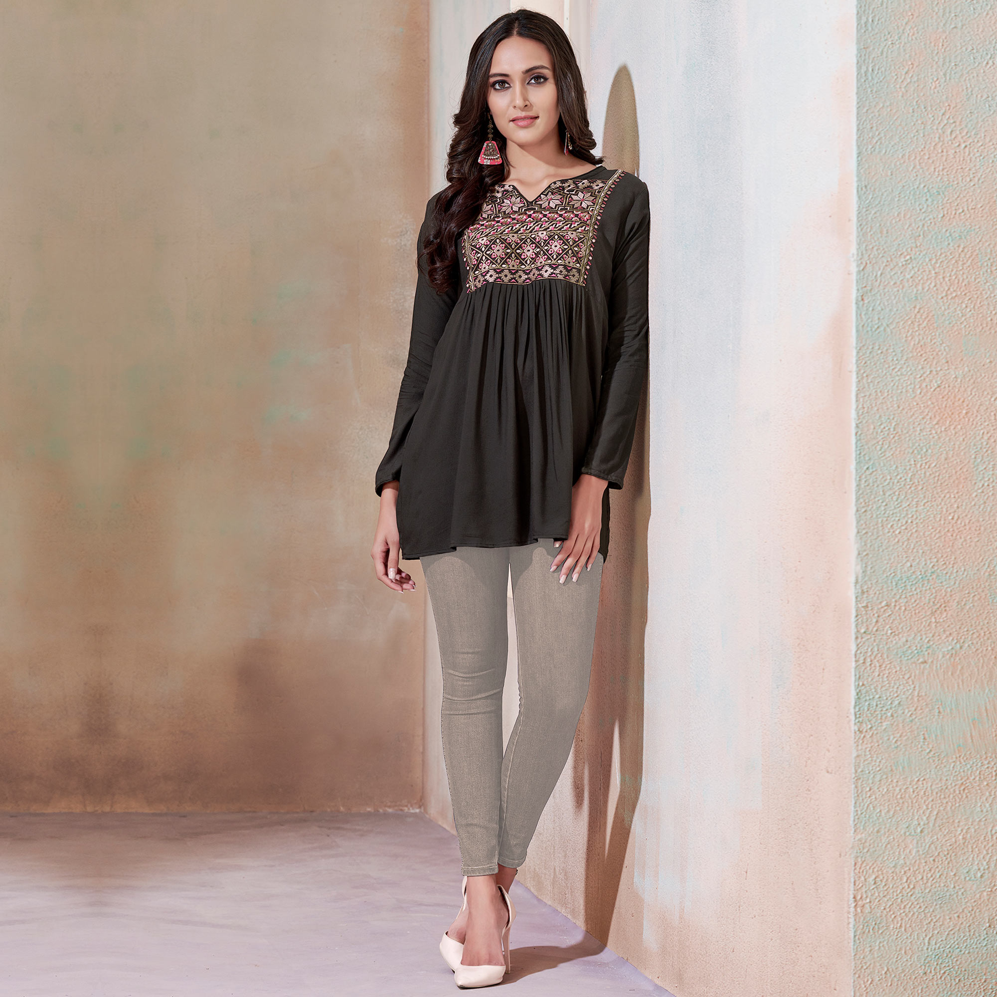 Exceptional Blackish Gray Colored Partywear Embroidered Rayon Western Top