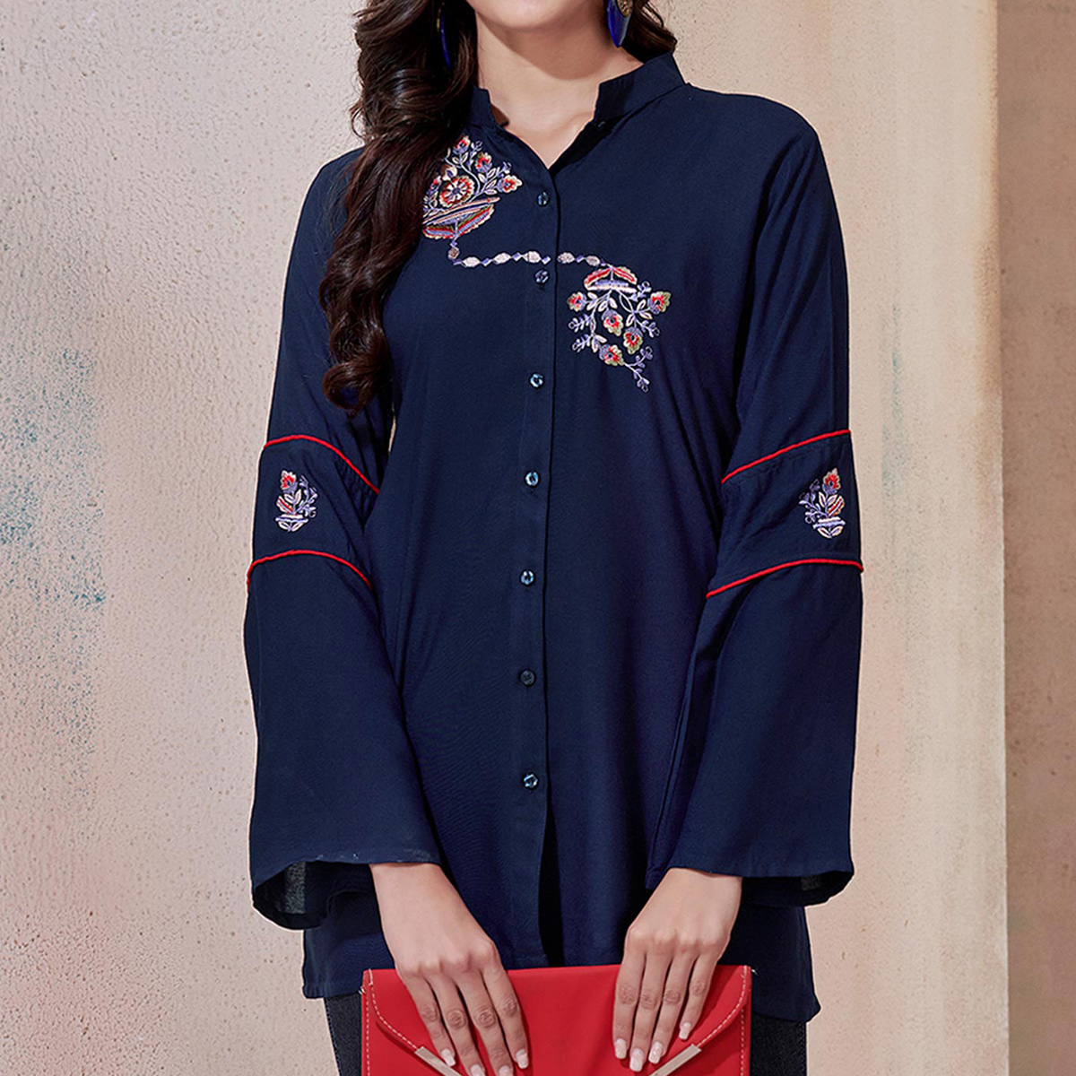 Gorgeous Navy Blue Colored Partywear Embroidered Rayon Western Top