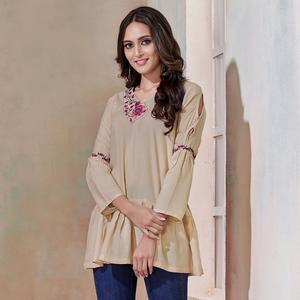 Appealing Beige Colored Partywear Embroidered Rayon Western Top