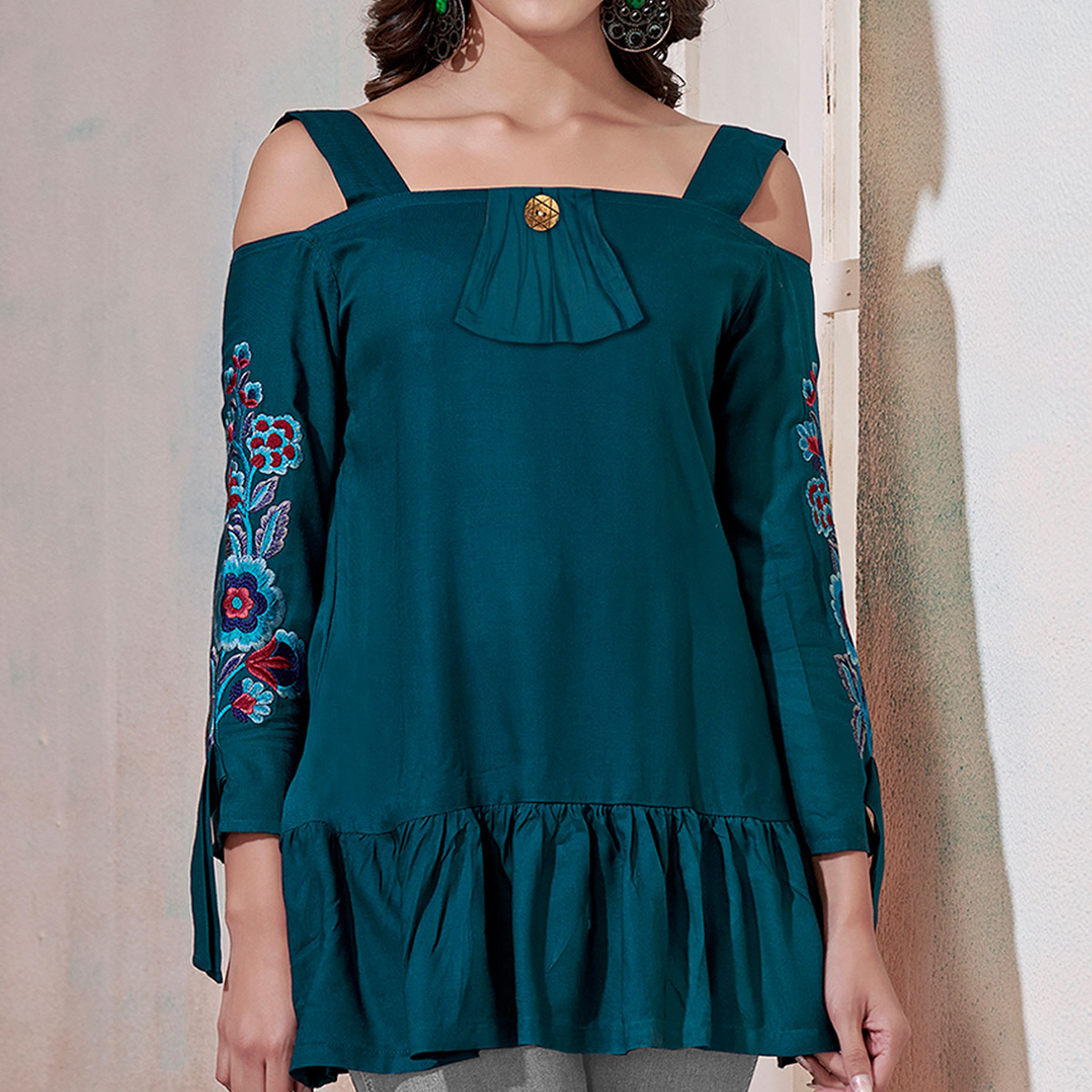 Impressive Teal Green Colored Partywear Embroidered Rayon Western Top