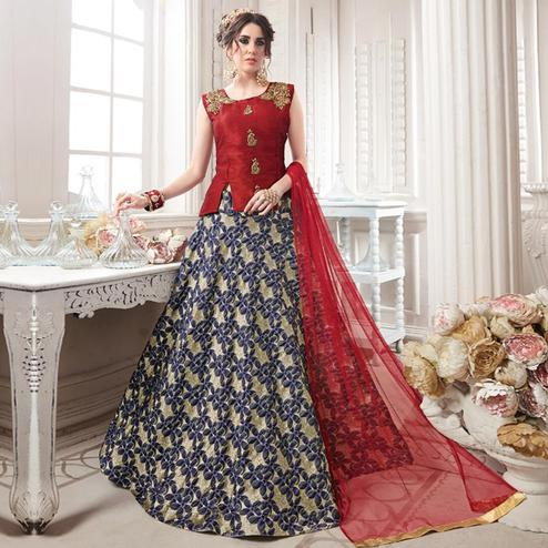 Impressive Red-Blue Colored Partywear Embroidered Jacquard Silk Lehenga Choli