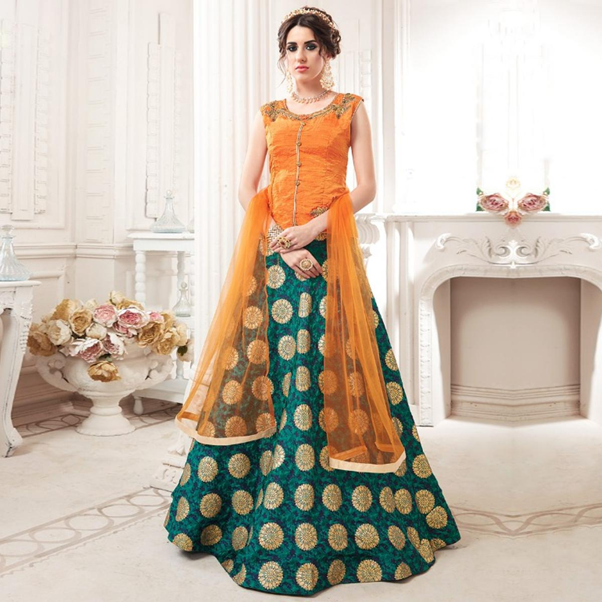Marvellous Orange-Green Colored Partywear Embroidered Jacquard Silk Lehenga Choli