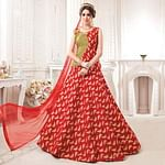 Adorable Red Colored Partywear Embroidered Jacquard Silk Lehenga Choli