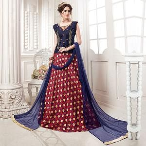 Gleaming Navy Blue-Red Colored Partywear Embroidered Jacquard Silk Lehenga Choli