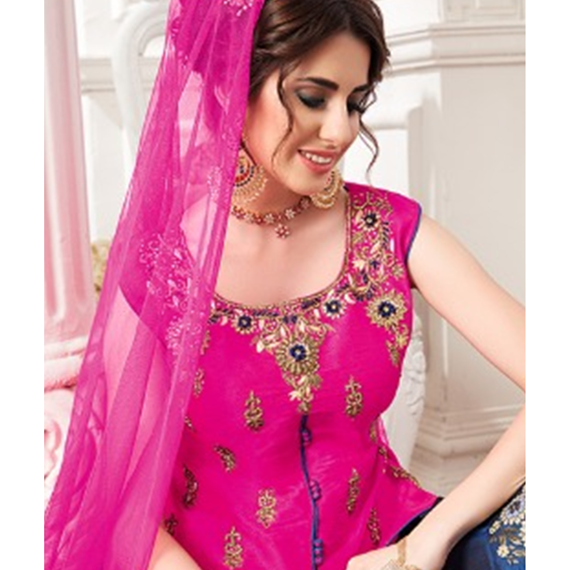 Charming Pink-Blue Colored Partywear Embroidered Jacquard Silk Lehenga Choli