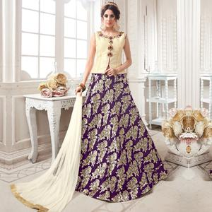 Appealing Cream-Purple Colored Partywear Embroidered Jacquard Silk Lehenga Choli