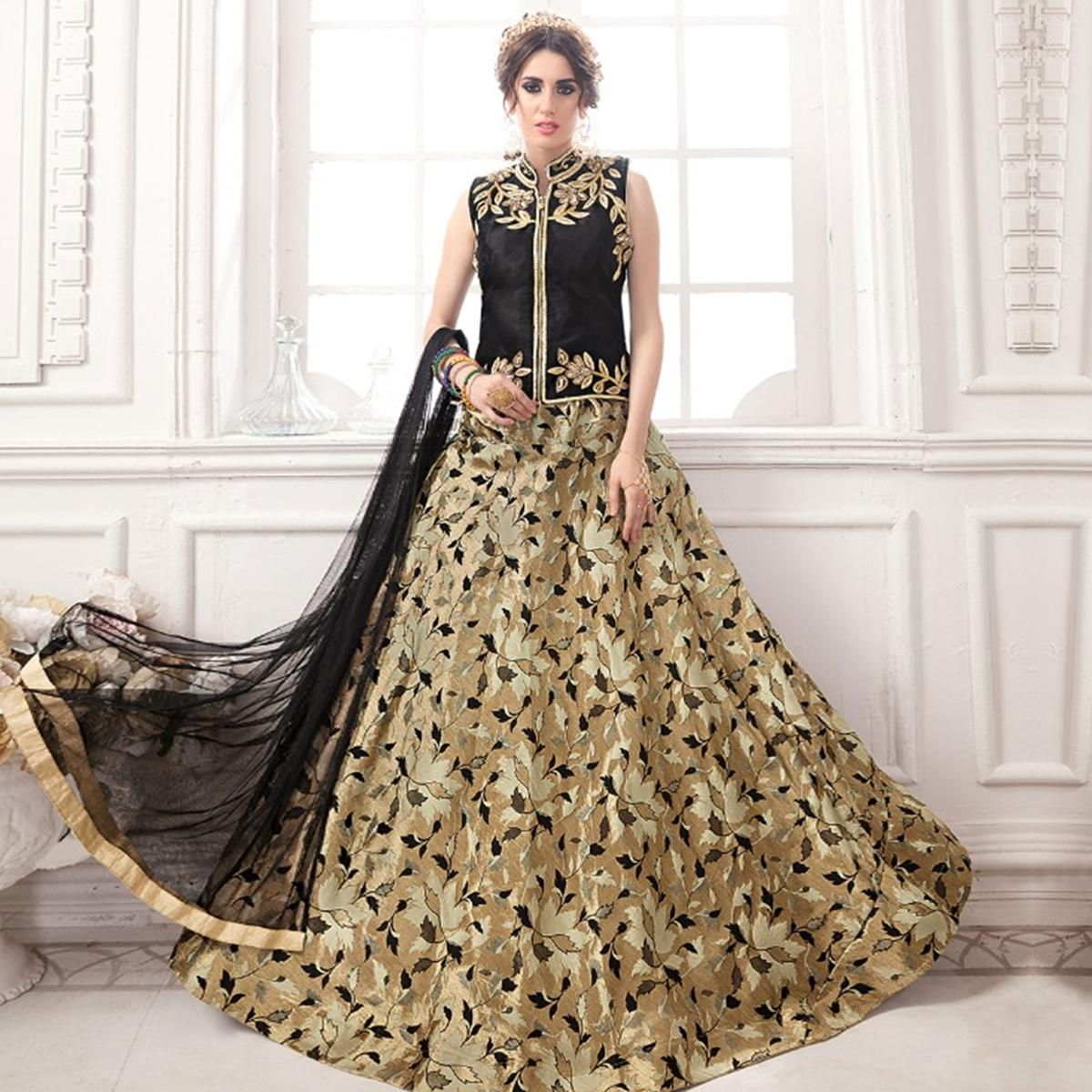 dddd2a5ee9 Buy Flamboyant Black-Chiku Colored Partywear Embroidered Jacquard Silk  Lehenga Choli online India, Best Prices, Reviews - Peachmode