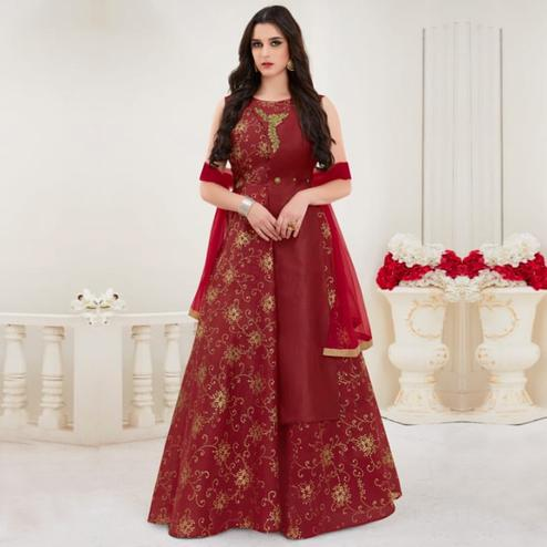 Exceptional Maroon Colored Parytwear Embroidered Modal Gown