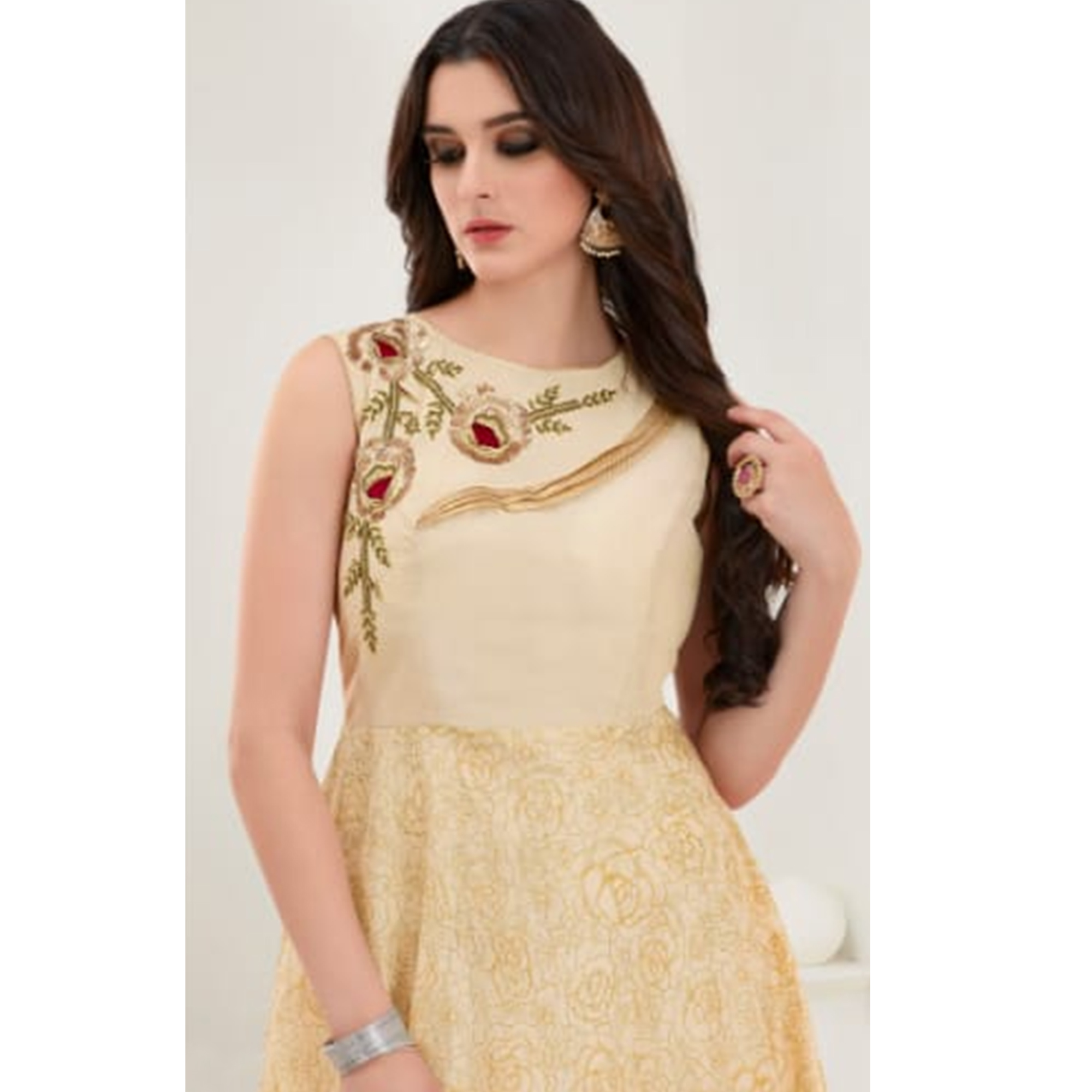 Marvellous Beige Colored Parytwear Embroidered Modal Gown