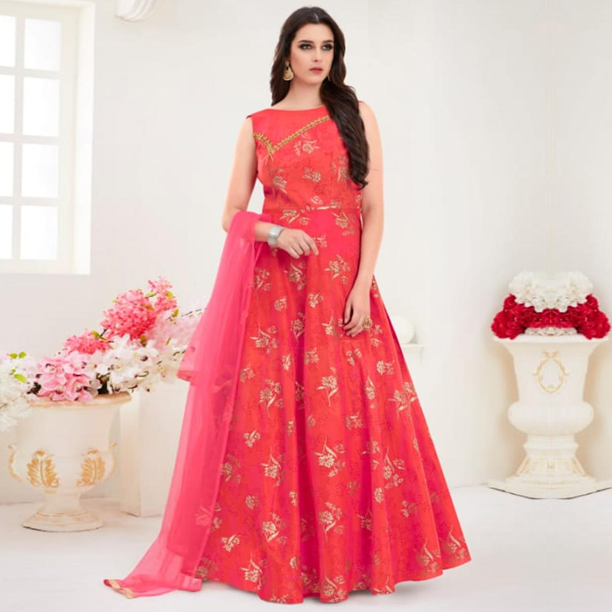 Amazing Coral Red Colored Parytwear Embroidered Modal Gown