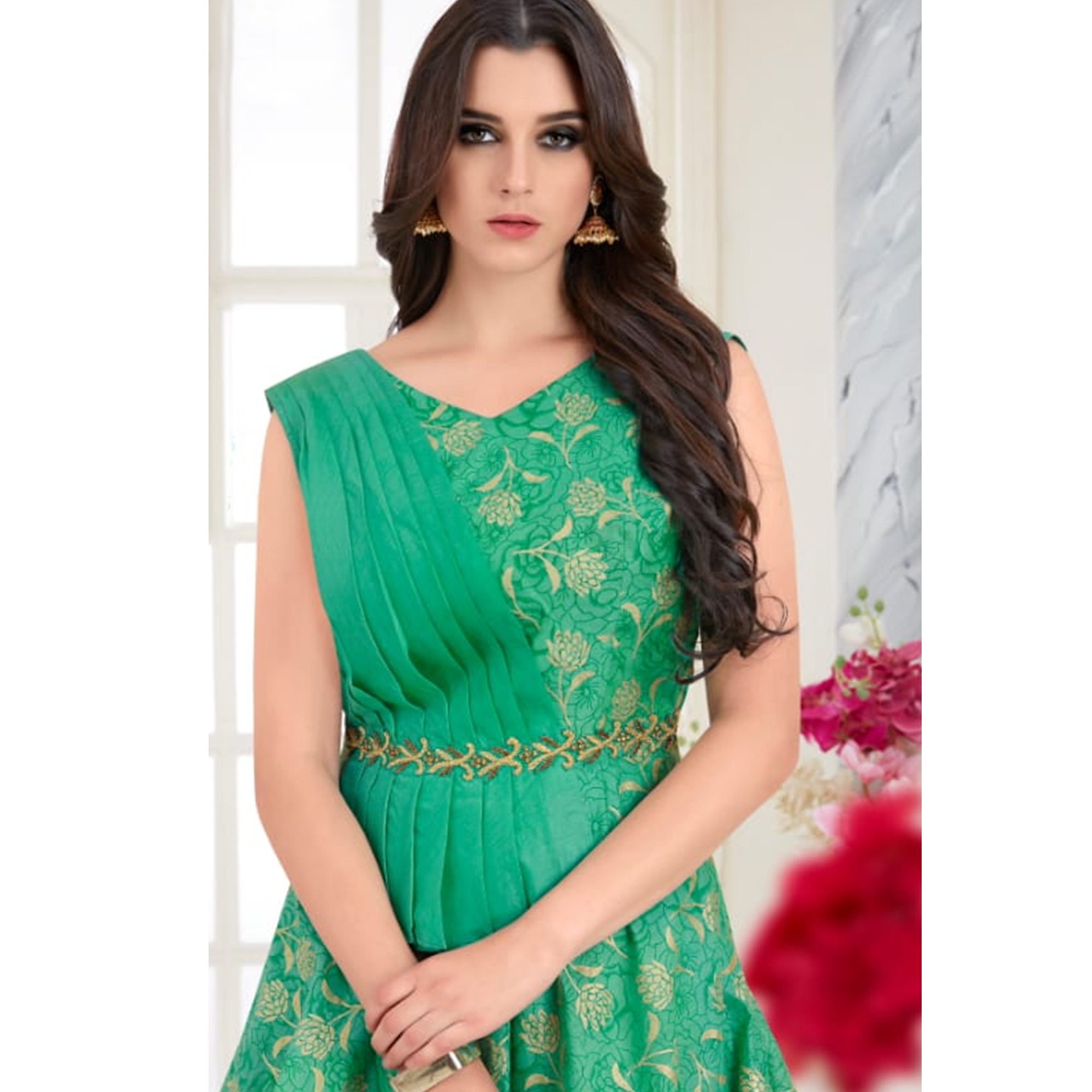 Refreshing Green Colored Parytwear Embroidered Modal Gown