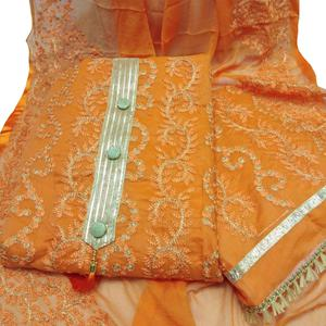 Trendy Orange Colored Partywear Embroidered Chanderi Silk Dress Material