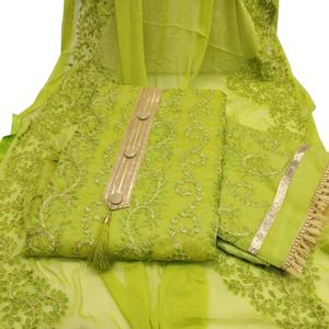 Refreshing Green Colored Partywear Embroidered Chanderi Silk Dress Material
