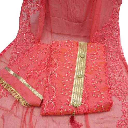 Attractive Rose Pink Colored Partywear Embroidered Chanderi Silk Dress Material