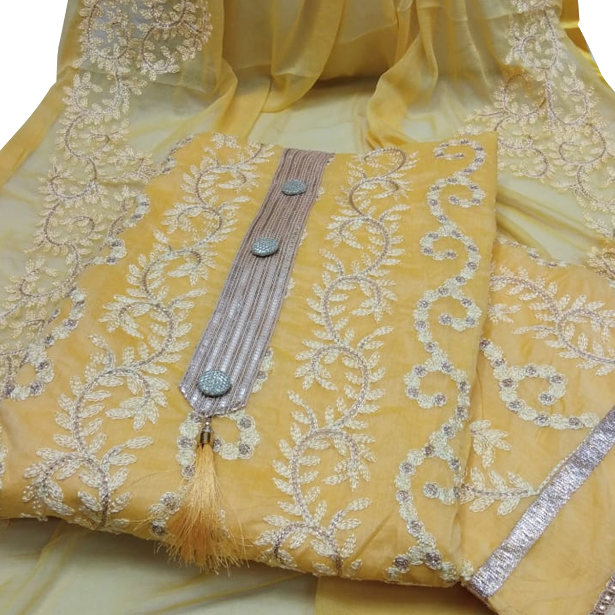 Gleaming Yellow Colored Partywear Embroidered Chanderi Silk Dress Material