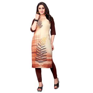 Beautiful Cream Colored Casual Printed Crepe Kurti