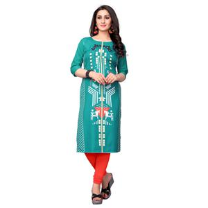 Lovely Turquoise Green Colored Casual Printed Crepe Kurti